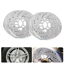 4 x Silver 4'' Tone Aluminum Cross Drilled Car SUV Wheel Disc Brake Rotor Covers