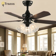 Black Vintage Ceiling Fan With Lights Remote Control Ceiling Light Fan E27 Bulbs