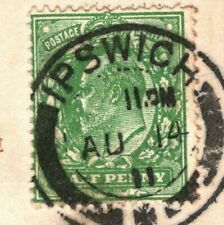 More details for gb kevii card ½d harrison *very blotchy* print 1911 ipswich cds spec m3(4) mc18a