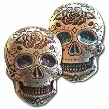 2 oz. 999 Fine Silver Sugar Skull - Day of the Dead -  Rose - 3-D -New