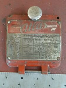 Atlas MFC Milling Machine M1-52 Cover Plate mill speed chart