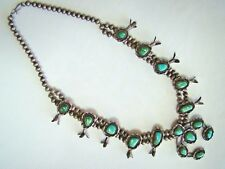 196gr Native American Old Pawn Sterling Silver Turquoise Squash Blossom Necklace