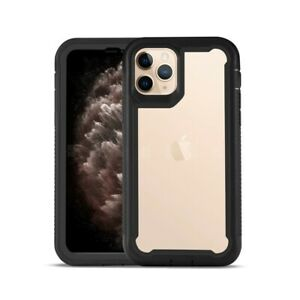 For iPhone 11 Pro Case Bumper Shock Resistant Protective Cover Clear Back Black