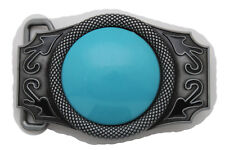 New Men Women Belt Buckle Western Antique Silver Metal Big Turquoise Blue Bead