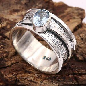 Blue Topaz Gemstone Solid 925 Sterling Silver Spinner Meditation Ring GESR330A