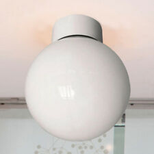 100w Bathroom Ceiling Globe Light Fitting White With Opal Shade UK