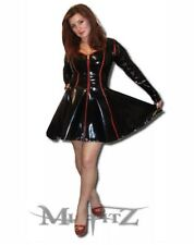 Misfitz sexy black/red Pvc  sweetheart skater dress size 18 TV Goth Rockabilly