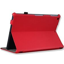 Red iPad Genuine Leather Folio Case Cover with Stand and Smart Cover Function