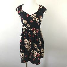 HOLLISTER Womens Size XS Black Floral Short Sleeved Dress