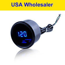 "2"" 52mm Oil Pressure Press Gauge Black Meter Digital Blue LED Universal"