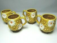 x4 Coffee Mugs Tea Cups Golden Harvest Daisy Pattern Japan Vintage Retro 1970s