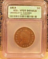 1814 Coronet Head Crosslet 4 Large Cent - ICG - VF - Cleaned