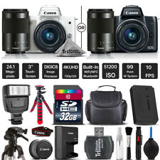 Canon EOS M100 Mirrorless Digital Camera with 15-45mm + 55-200mm STM + Tripod