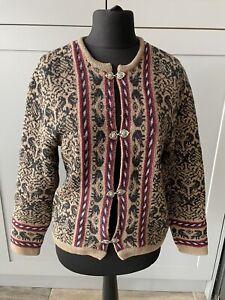 True Vintage Cardigan Jacket Floral Granny 100% Wool Size Large