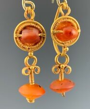 ANCIENT ROMAN GOLD DECORATED EARRINGS WITH ANCIENT CARNELIAN DANGLES; WEARABLE!