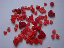 TRIMITS  TEENY TINY MINI HEART CRAFT/DOLL BUTTONS 3 sizes - Shades of RED (08)