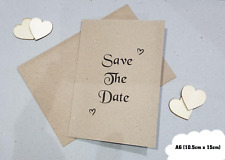 10 Personalised Save The Date Cards Wedding - With Envelope A6 Kraft Invitations