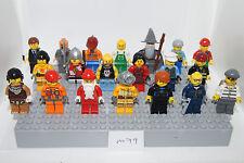 LEGO BULK 20 Minifigures Nya, Gandalf, Knight, Santa, Indian, Surfer m79 GENUINE