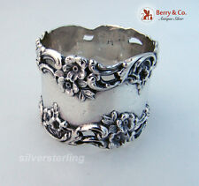 Baroque Floral Open Work Scroll Napkin Ring Simons Sterling Silver 1890