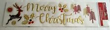 CHRISTMAS INSTANT DECOR Use on Windows/Walls  MERRY CHRISTMAS Gold & Red