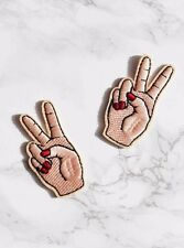 Peace sign iron on embroidered patch. Blogger/DIY/90s denim jacket accessory