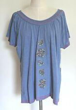 Caribbean Joe 2x Short Sleeve Top Embroidery Purple Dusk Casual Stretch