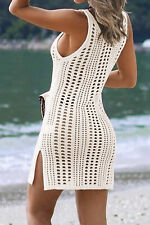 White Hollow out Crochet Cover Up Beach Dress With Slit