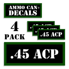 """45 ACP Ammo Can 4x .45 Labels Ammunition Case 3""""x1.15"""" stickers decals 4 pack"""