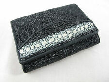 Genuine Stingray Skin Leather Mini Trifold Card Wallet Black + Free Shipping