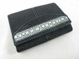 Genuine Stingray Skin Leather Mini Trifold Card Wallet Black + Free Shipping