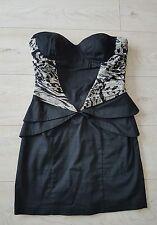 Lipsy Sexi Beautiful Black Mini Dress In Two Tones Size 10/36 VGC