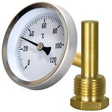 """Kessel OfenThermometer Einschraubthermometer 1/2"""" Bimetall Zentralheizung 120°C"""