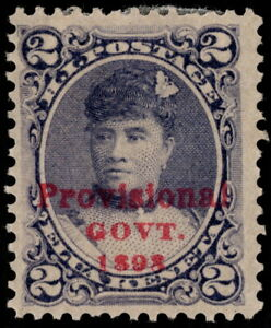 Hawaii - 1893 - 2 Cents Dull Violet Queen Liliuokalani Issue w Overprint # 57