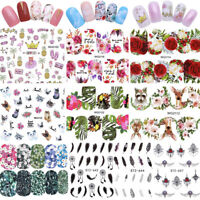 Feather Floral Hoja de uñas Pegatinas Calcomanía de agua Set Manicura Decoración