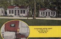 Postcard Allenwood Motor Court Louisville GA 1954
