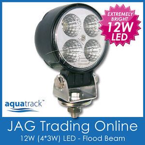12W BLACK LED WIDE FLOOD BEAM/WORK LAMP - BOAT/DECK/CARAVAN/RV/TRUCK/4x4 LIGHT