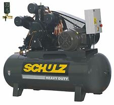 SCHULZ AIR COMPRESSOR 20HP 3-PHASE 120 GALLONS TANK- 208-230-460 VOLTS