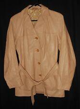 Vtg. Women's Deer Skin Jacket Belted Style Light Yellow Super Soft 36
