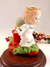 Enesco Ruth Morehead Holly Babes Angel on Candle with Holly Berries Figurine