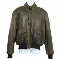 L.L. Bean Bomber Jacket Leather Vintage Brown Full Zip Men's Size 42 Made in USA