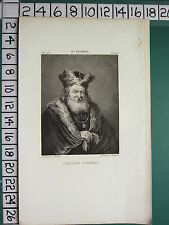 C1810 antica stampa ~ D. TENIERS Ritratto d'homme