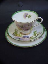 Royal Doulton Trio Set '' Gleamis Thistle'' Design  Signed  by P. Curnock