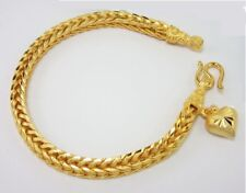 "Yellow Gold Plated Bracelet Jewelry 8"" Braided Heart Charm 23K 24K Thai Baht"