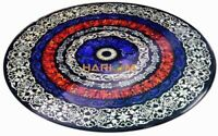 """60"""" Black Marble Table Top Carnelian Lapis Stone Marquetry Inlay Home Decor B034"""