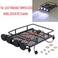 Roof Rack w/ LED Light Spotlight for 1/10 TRAXXAS TAMIYA CC01 AXIAL SCX10 Truck