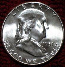 RARE 1951-S GEM-BU++++  50C FRANKLIN HALF DOLLAR GEM-BU++++ MS++++ FROM ROLL #12