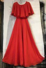 1970s long retro chiffon Vintage Dress layered nylon Xs Small orange butterfly