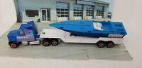 Vintage Majorette 1980s Miami Vice Semi Truck, Trailer & Boat 1:87 France Blue