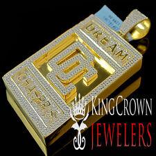 Real Diamond Mens Yellow Gold Finish Dream Chaser Designer Charm Pendant 2.65''