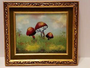 Vintage Mid Century 'Mushrooms' Artist Painting Enamel on Copper by Rene Bernard